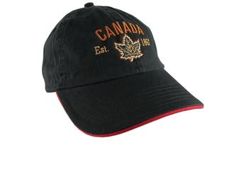 Canada Established 1867 Retro Style Maple Leaf Copper and Golden Embroidery on an Adjustable Black and Red Unstructured Baseball Cap