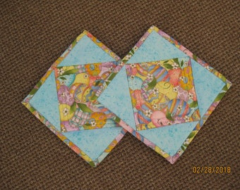 Quilted Pot Holders - Hot Pads - Easter- Heata Resistant