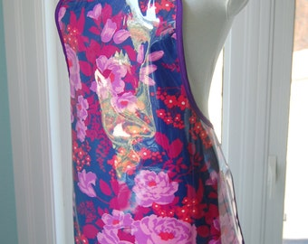 Rose Bouquet Vinyl Apron - handmade wipe clean and waterproof apron - fabric with clear vinyl covering - machine washable