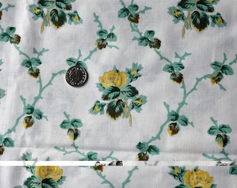 Vintage Laura Ashley fabric yellow green white  2.5 metres 1986