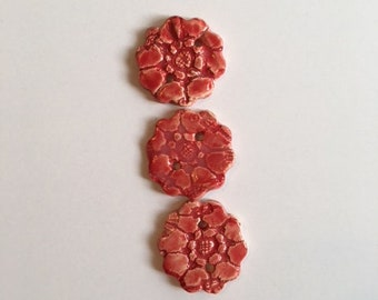 Handmade Ceramic Buttons (Set Of 3) Red With A Lace Flower Design