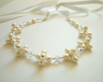 Bridal freshwater pearl cluster necklace - ivory