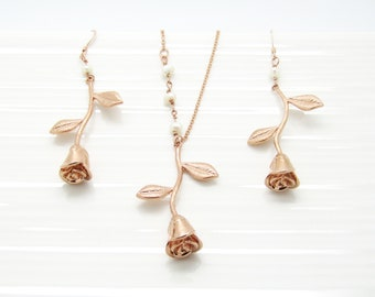 Bridesmaid Necklace and Earrings Set, Silver Rose Gold or Gold Bridesmaid Gift Bridesmaid Jewelry Wedding Jewelry, Rose Jewelry, Gifts