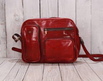 Etienne Aigner bag, Red leather bag, Etienne Aigner shoulder bag, Leather satchel, Cross body bag, Cross body leather handbag, Old satchel