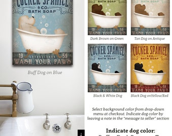 Cocker Spaniel dog bath soap Company bath artwork by stephen fowler on gallery wrapped canvas 5 COLORS