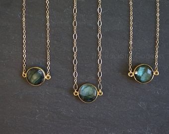 Gold Labradorite Necklace / Gold Labradorite Necklace / Labradorite Necklace / Labradorite Choker / Mother's Day Gift / Gift for Mom