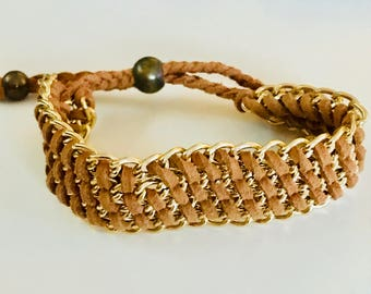 Gold wire and thread cuff bracelet