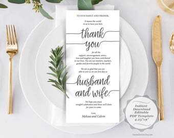 Wedding Place Setting Thank You Card, Instant Download Editable PDF Template, Kraft Wedding Thank you card in PDF template (TED410_14)