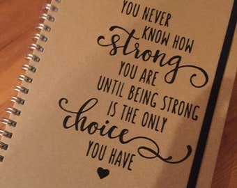 Personalised Quote Notebook Notepad Kraft Any Quote