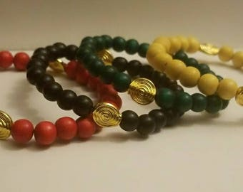 Afrika, Wood Bead Bracelets (Set of 4)