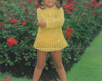 Girls Dress PDF Crochet Pattern : Childrens / Toddlers 20 , 22 , 24 and 26 inch chest . Instant Digital Download