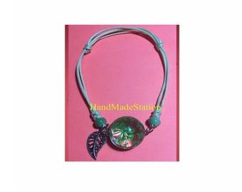 Dried flowers mini Green flowers specimens bracelet glass ball