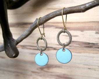 Robin's Egg Blue Chandelier Earrings, Light Blue Dangle Earrings, Copper Enamel, Bluebird Drop Earrings, Nickel Free Kidney Ear Wire