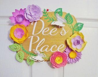 Custom Door Sign with Paper Flowers - Wedding Chair Sign | Paper Flower Sign | Home Welcome Sign | Bedroom Door Sign | Little Girl Name Sign