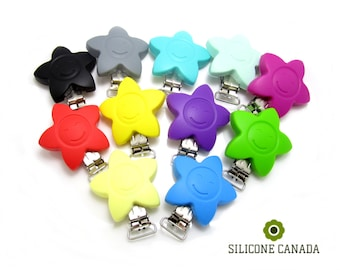 Silicone Star with Metal Pacifier Clip