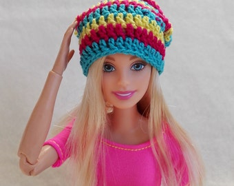 Barbie surf hat, yellow, blue and pink slouchy beanie for Barbie doll