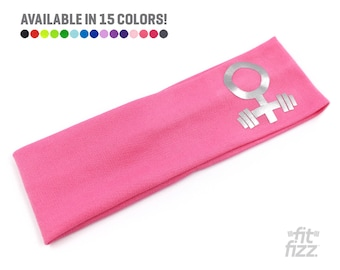 Pink Gym Headband | Silver Female Symbol Workout Headband | Strong and Courageous |  Strong Women | Mom Strong | Females Are Strong As Hell