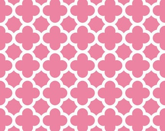 Hot Pink Quatrefoil  Cotton Fabric - Riley Blake Fabrics - Perfect for Quilting, Nursery, Kids Clothing
