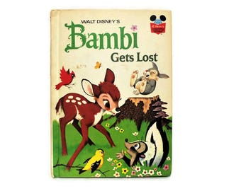 Vintage Bambi Hardback Book/ Bambi Gets Lost/ Disney's Wonderful World of Reading/ 1972/ Classic Children's Book/ Walt Disney's Bambi/ Gifts