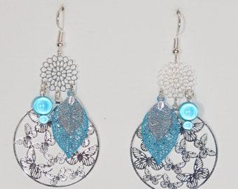 Leaf earrings, flowers, butterflies, print earrings, turquoise, silver, earrings trend was 2018