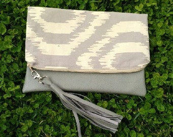 Baige and Gray Faux Leather Clutch with Tassel