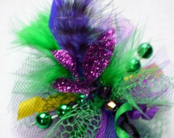 Mardi Gras Feather Fascinator Dog Hair Bow - Style 2