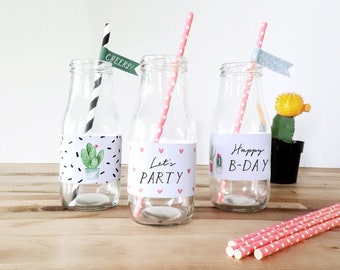 Sweet Cactus Water Bottle Labels | Birthday Party | INSTANT DOWNLOAD