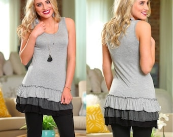ADORABLE Gray Tiered Ruffle Hem Tunic Tunic Dress for Women | Must-Have for Spring and Summer!