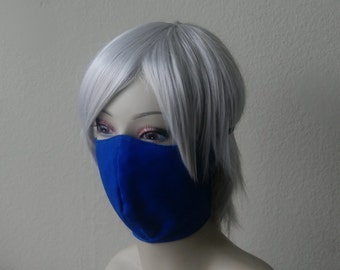 Royal Blue Ninja Mask - Jrock Style Gothic Fashion Punk Mask Ninja Cosplay Taki Costume Visual Kei Elastic Strap-On Mask