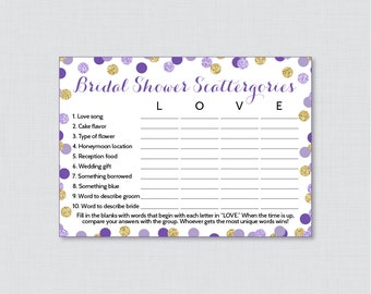 Bridal Shower Scattergories Game in Purple and Gold Glitter - Printable Purple Scattergories Game - Purple Bridal Shower Game 0001-R