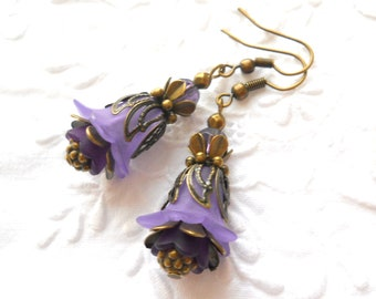 purple flower earrings filigree earrings purple earrings flower earrings floral earrings gift for her