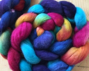 hand-painted merino wool and nylon roving (top)
