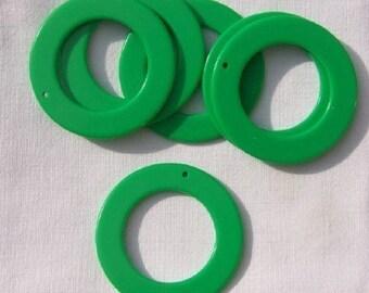 Vintage Lucite Big Round Green Hoop Beads Pendants (6) hps050C