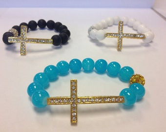 SALE Sideways Cross Necklace PLUS a matching Sideways Cross Bracelet DEAL Mother's Day Gift inexpensive