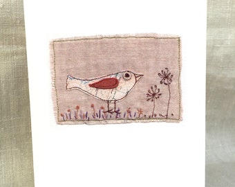 Bird With Aliums Greeting Card. Free-machine Embroidery Print. Note cards. Blank cards.