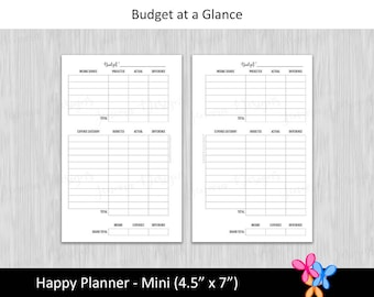 HP Mini: Budget at a Glance • Budget Binder Printable Page Insert for Happy Planner Mini sized Disc or Ring Bound Planners