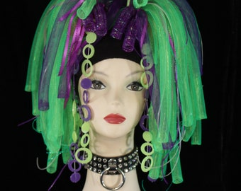 Invader Zim Purple neon green Cyberlox hair falls clubbing rave cyber goth gogo dance club wear edc raver -Ready to Ship Sisters of the Moon