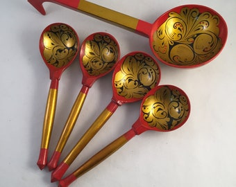 Set of Hand Painted Russian Lacquered Khokhloma Spoons, Five Total, Four Plus One Ladle, Beautiful Detailed Painted Wood Spoons
