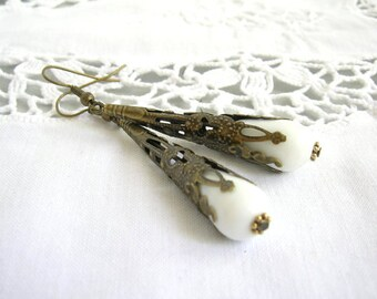 victorian dangle earrings white earrings white jewelry white and bronze earrings filigree earrings boho earrings boho jewelry