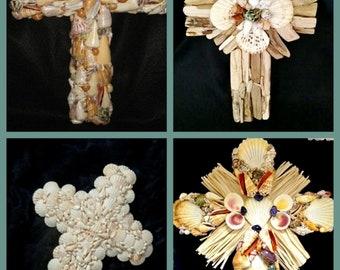 Coastal Crucifix Cross Beach Wall Art EASTER Seashell Nature Door Hanging White Driftwood Cottage Christmas Decor
