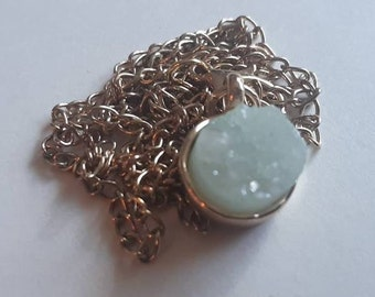 Gold Druzy Prehnite Necklace