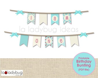 Bunting for first birthday, printable. I am one -bunting. Shabby style. Aqua and cream decoration first birthday baby girl. Instant download