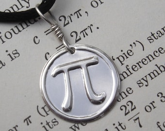 Pi Pendant Necklace, Math Teacher Gift, Geekery Math Jewelry, Sterling Silver Pi Jewelry, Science Jewelry, Pi Necklace, Science Teacher Gift