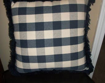 Blue and White Check Pillow