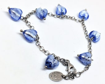 Antica Murrina Sterling Sky Blue Glass Bracelet Hearts Handmade 8 inch Vintage  SALE