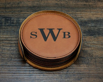Monogrammed Leather Coasters, Customized Coasters, Engraved Coasters, Personalized Engraved Gift, Wedding Gift, Gift for Him, Father's Day