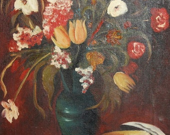 Vintage oil painting floral still life signed