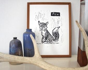 """fox linoleum block print - 9"""" x 12"""" wall art"""