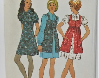 Mini Dress And Smock High Round Neckline Dog Ear Collar Back Zipper Size 12 Sewing Pattern Simplicity 9800