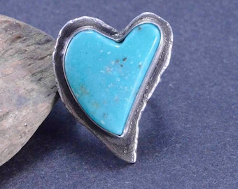 Turquoise Ring, Heart Ring, Raw Sterling, Boho, Metalsmith Jewelry